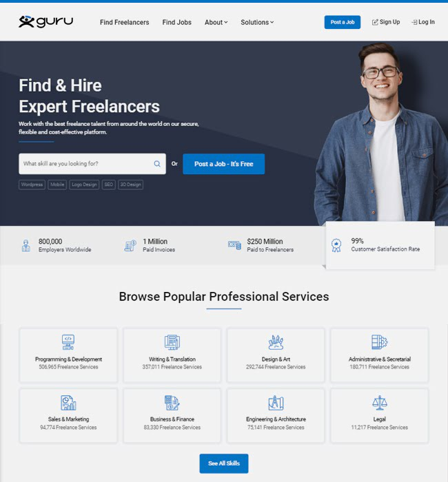 UX Web Designing for a Freelancer Job Portal - Guru