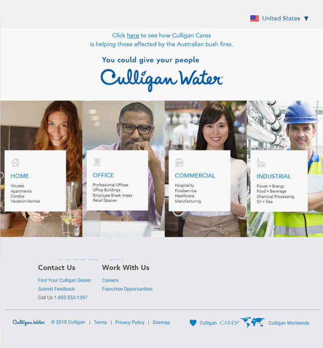 eCommerce Website Development for a Water Purifier Selling Brand - Culligan