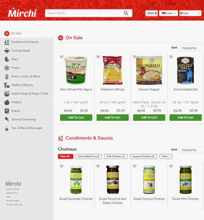Shopify Website Development for 'Mirchi Market' - Online Grocery Store