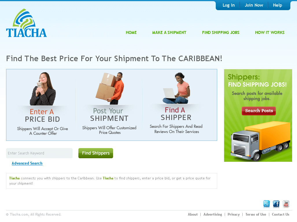 CakePHP Website for Retail 'TIACHA' – Shipping Services Worldwide