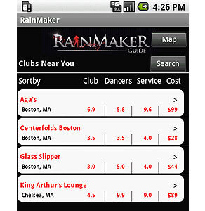 Android Mobile App for Media 'RainMaker' – Club Search Engine