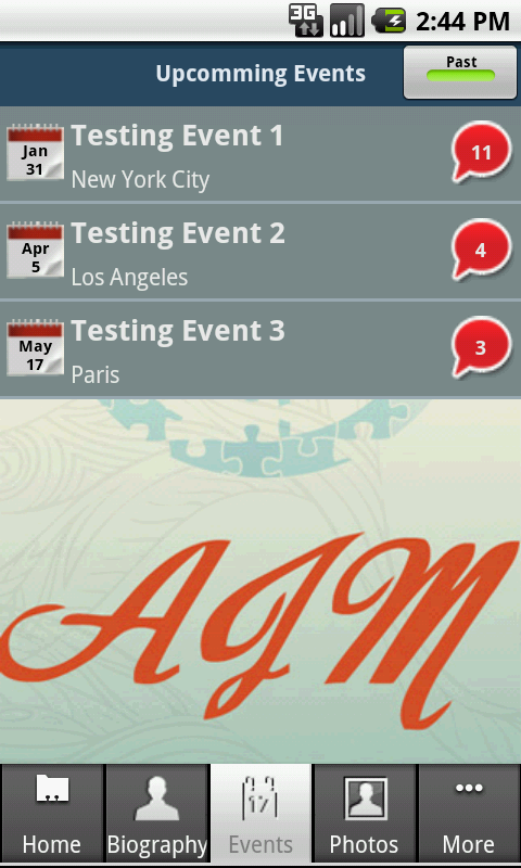Android & BlackBerry Mobile App for Media 'AIM' – Upcoming Events Search