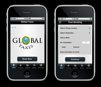 Android & iPhone Mobile App for Automotive 'GlobalTaxis'- Taxi Booking