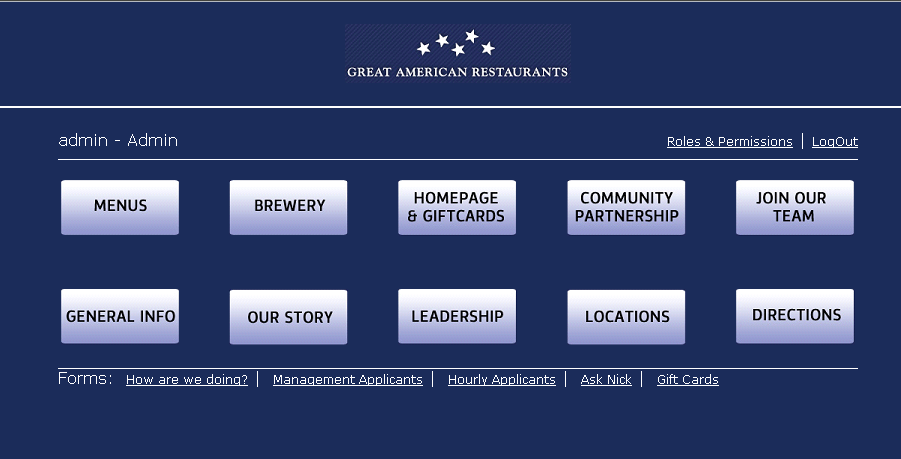 ASP Dot Net CMS Website for Travel 'Great American Restaurants'