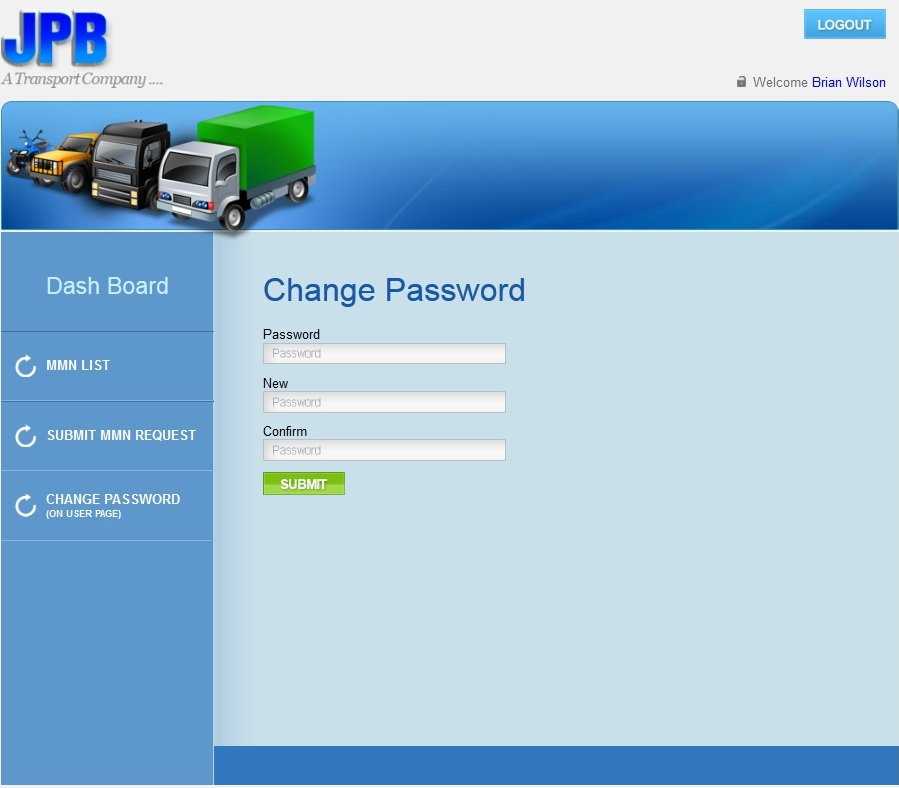 ASP Dot Net Website for Logistics 'JPB' - Transport Company