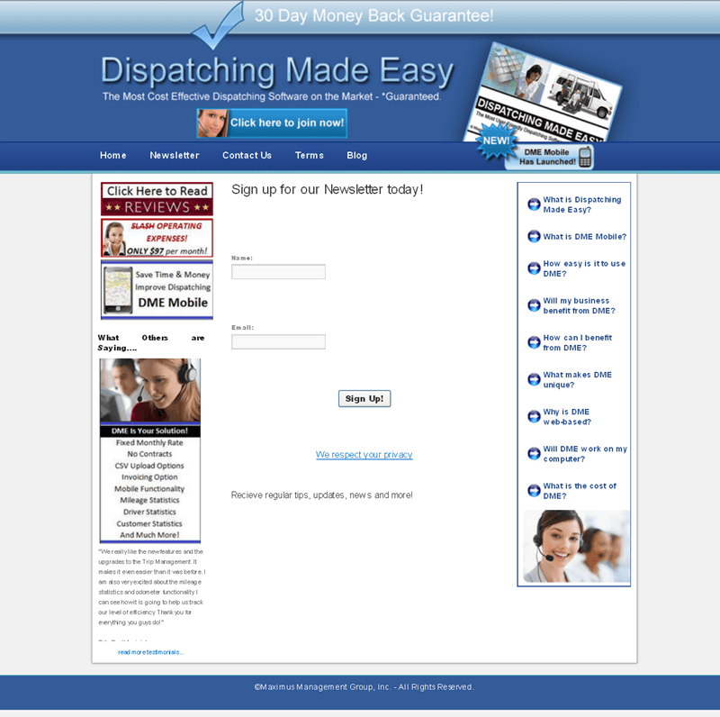Asp Dot Net Website for Dispatching Services Provider – 'DME Live'