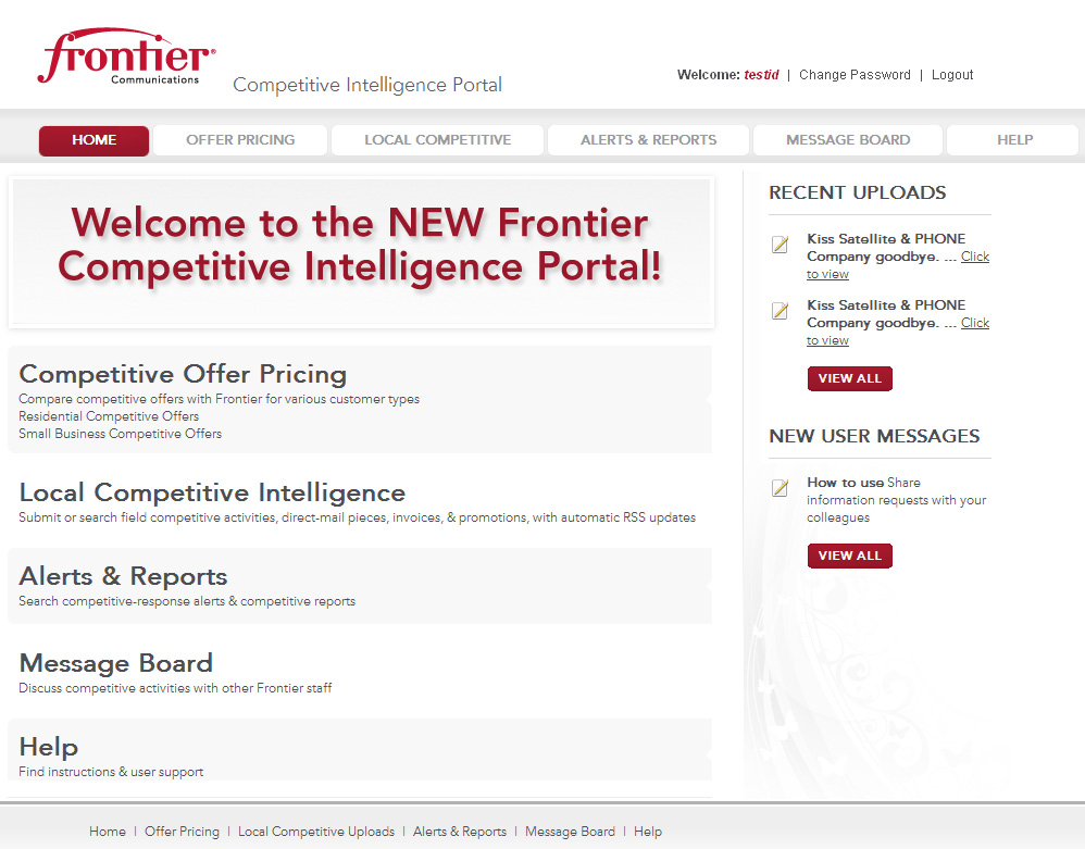 Dot Net Website for Consumer 'frontier' – Telecommunication Service