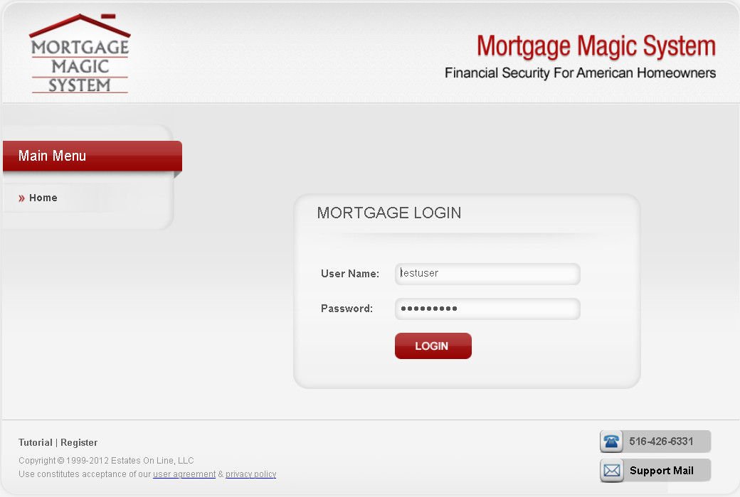 Dot Net Website for Finance 'Mortgage Magic System'- Mortgage/Loan Services