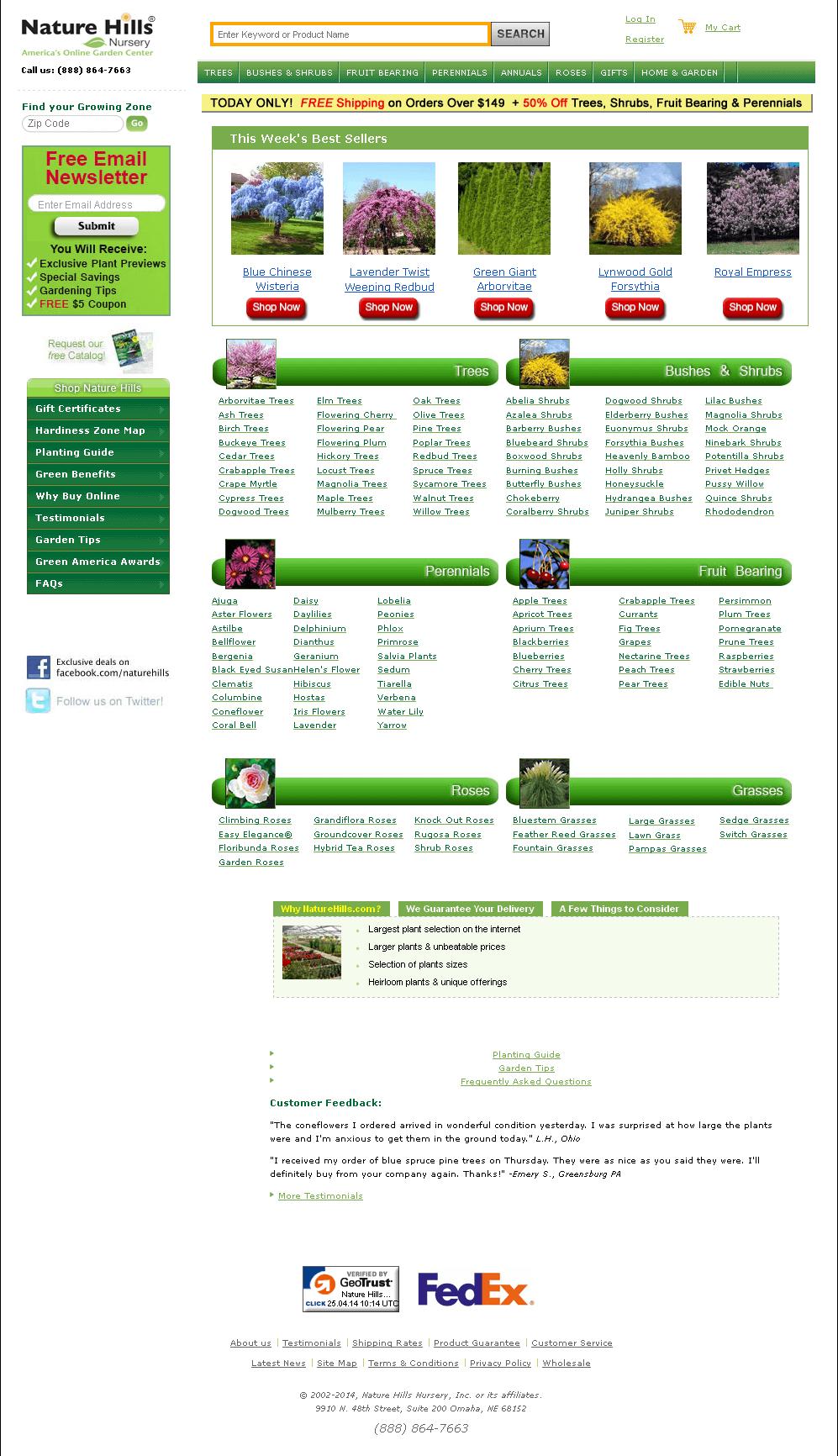 Dot Net Website for Retail 'Nature Hills ' - Online Nursery Shop