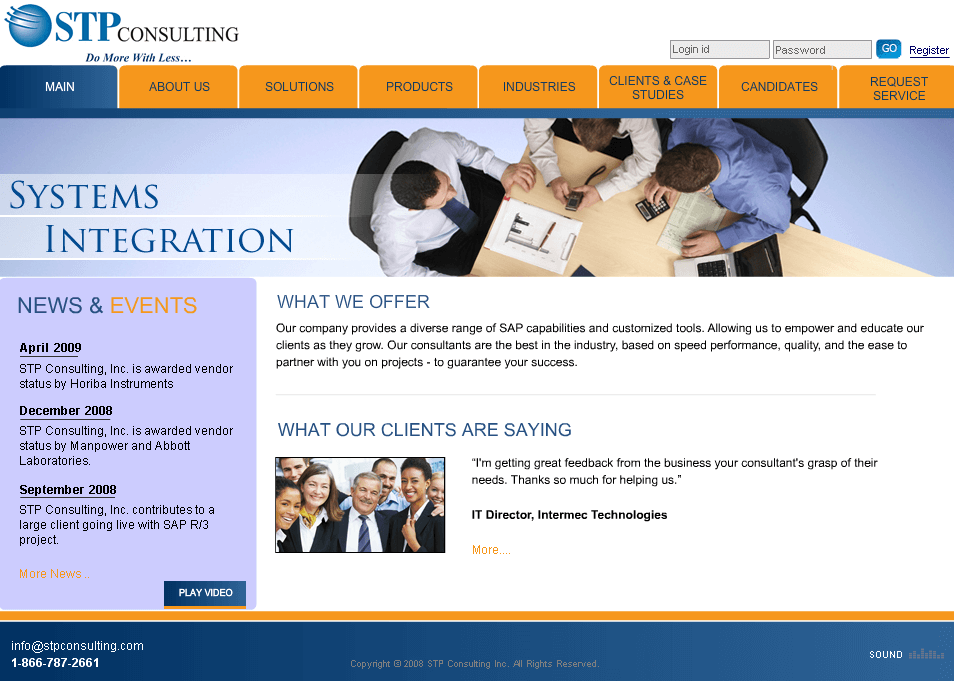 Dot Net Website for 'STP Consulting Inc.' - SAP/ERP Consulting Firm
