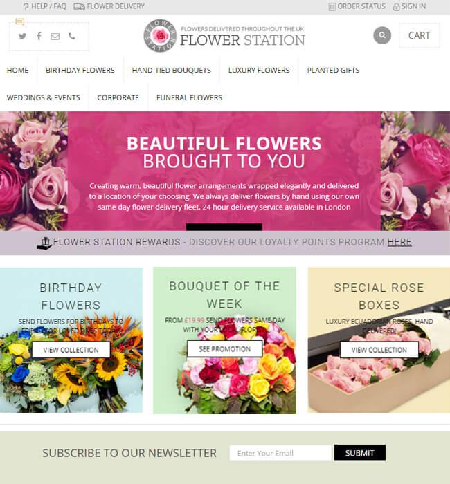 BigCommerce Website Development for Online Flower Shop, UK - Flower Station