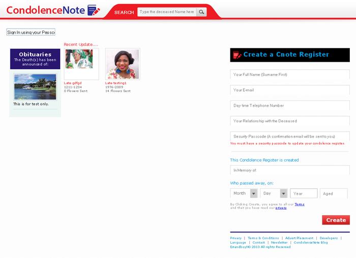 CakePHP Website for Media 'CondolenceNote' – Online Memory Register Portal