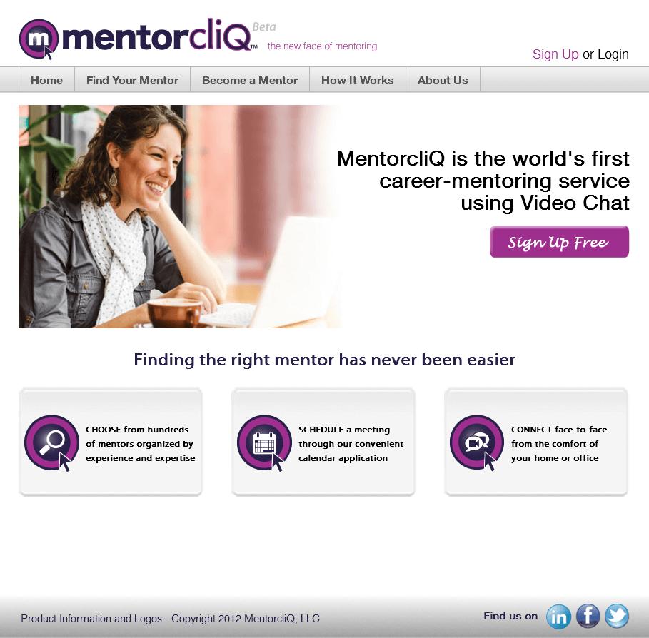 CakePHP Website for Media 'MentorcliQ' - Career Mentoring Services
