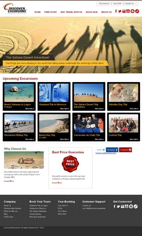CakePHP Website for Travel 'Discover Excursions' - Trip Booking Portal