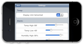 iPod Touch Temperature Measuring Application for ''TempMonitor'