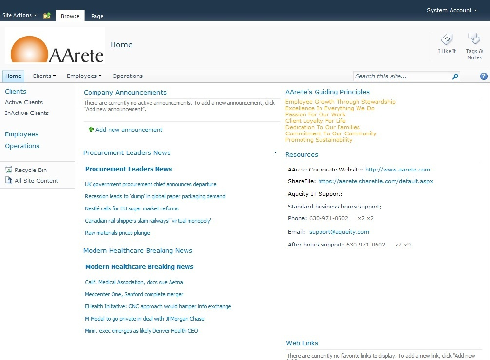Enhancement on a SharePoint Portal - AArete