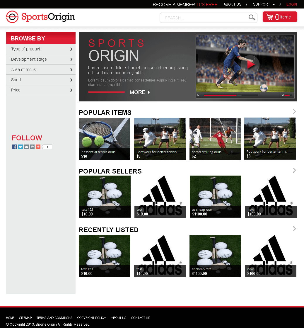 Sports Origin - An Ecommerce Site for Sporting Goods