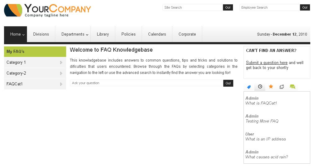 Dot Net Website for 'FAQ Knowledgebase' – Online FAQ Database Portal