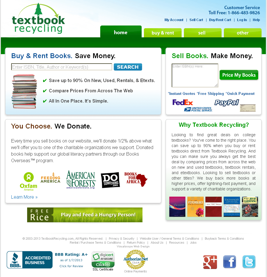 Dot Net Website for 'Textbook Recycling' – New & Used Textbook Seller