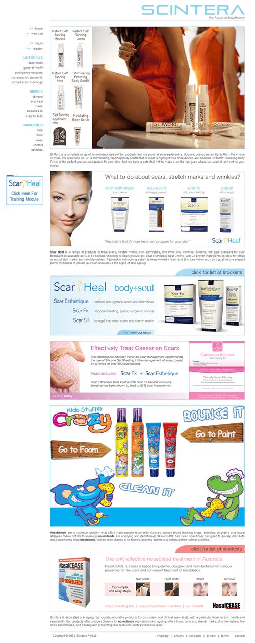 Dot Net Website for Healthcare 'SCINTERA' – Online Medical Products Seller