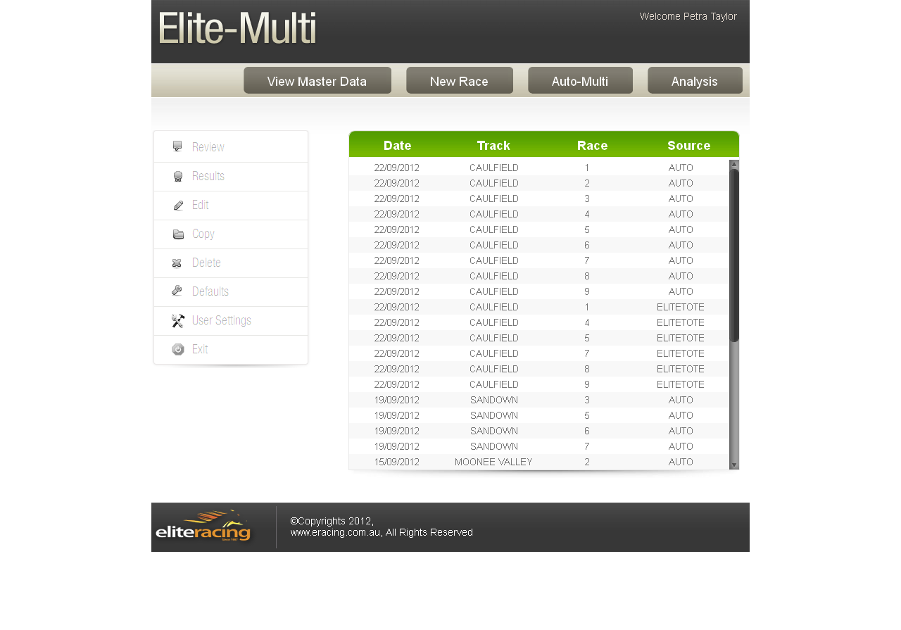 Elit-Multi - A Tutorial Web Application for Horse Betting