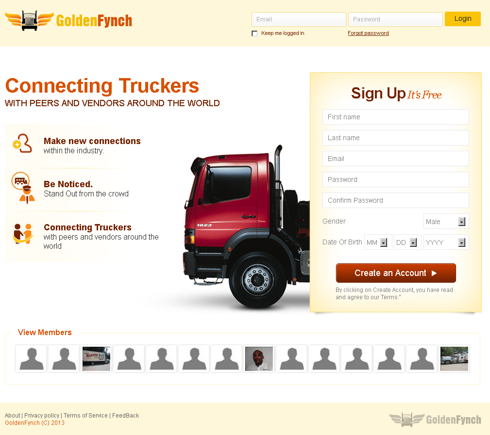 Golden Fynch - A Social Networking Site for Truckers