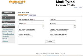 Website for Retail 'Modi Tyres Company (P) Ltd' Using Dot Net