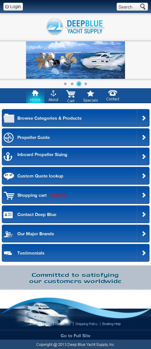 Website for Travel 'Deep Blue Yacht Supply' Using Dot Net