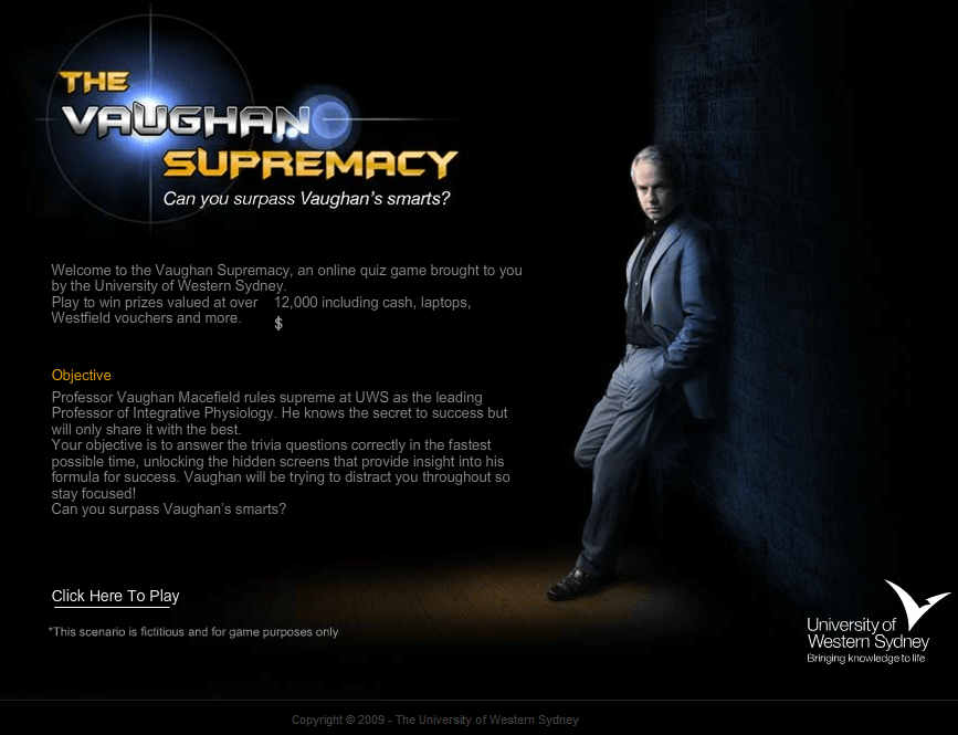 Website for 'Vaughan Supremacy' Using Dot Net – Online Quiz Game