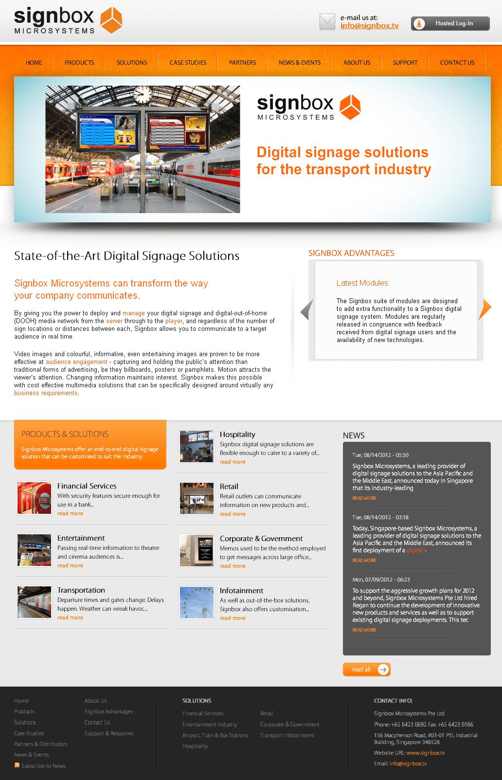 Website for Digital Signage Solutions Provider for Transport 'SignBox'