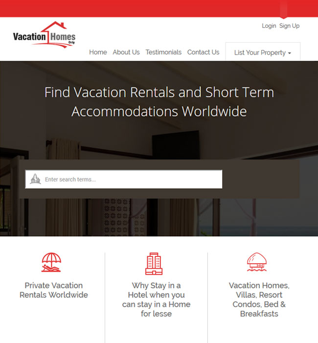 Development of Vacation Rental Booking Website - Vacation Homes Only