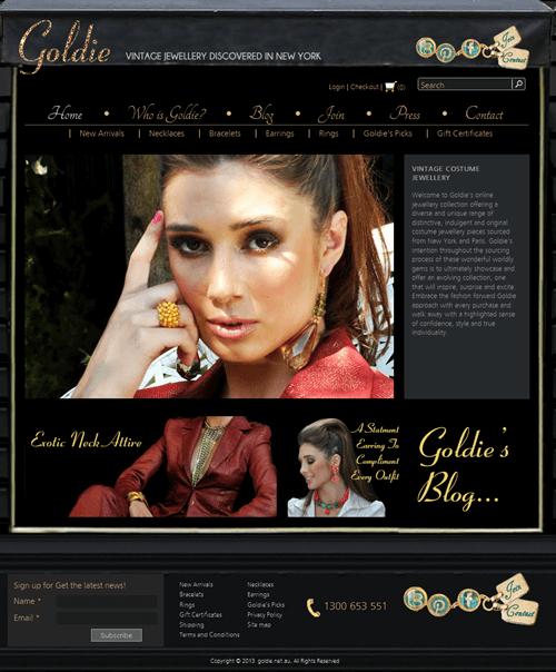 Website for Retail 'Goldie' Using Drupal – Online Jewelry Store