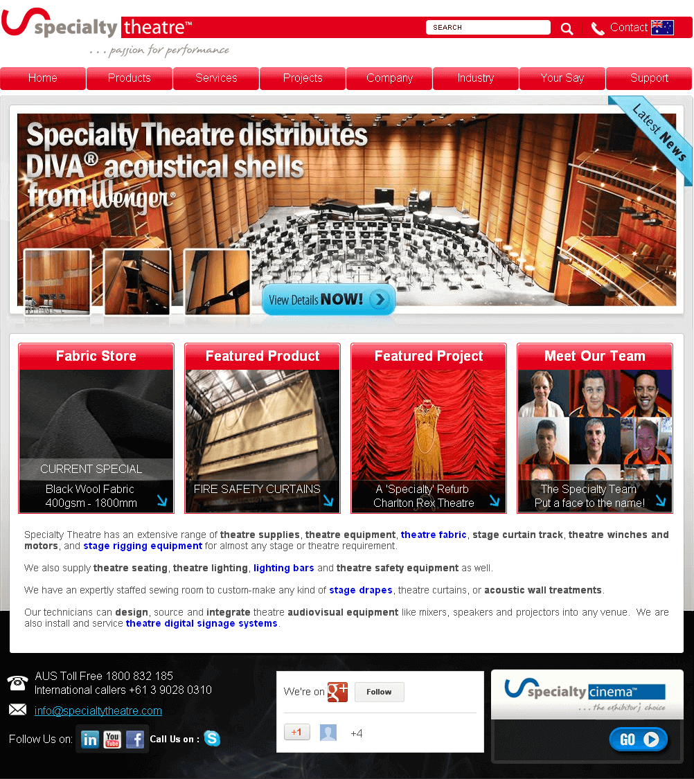 Website for Theatre Equipment Supplier 'Specialty Theatre' Using Drupal