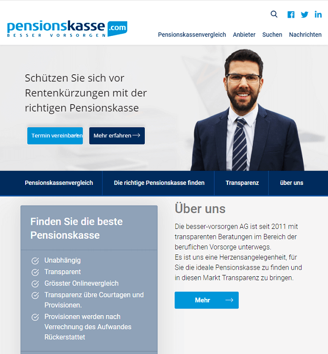 WordPress Website Development for Pensionskasse, Insurance company, Germany