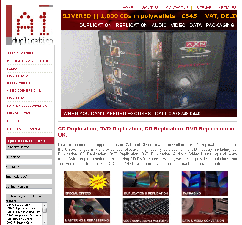 Website for Media 'A1Duplication' Using HTML – CD/DVD Duplication Services