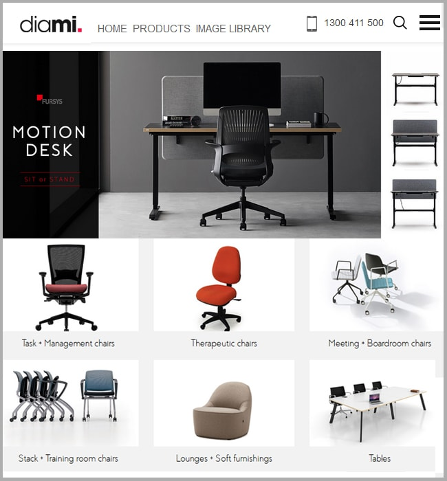 Furniture Store Website Redesigning for Diami, an Australian Company