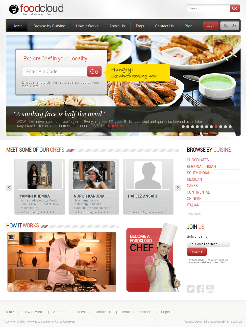 Website for 'foodcloud' – Online Marketplace for Home Chefs and Caterers