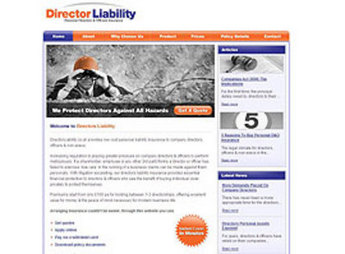 Website for Online Insurance Services Provider 'Director Liability'