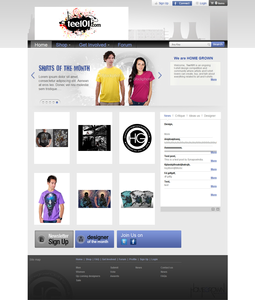 Website for Online T-shirt Seller 'Home Grown Clothing' Using HTML
