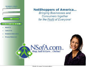 Website for Multi-Level Marketing Business 'NetShoppers of America'