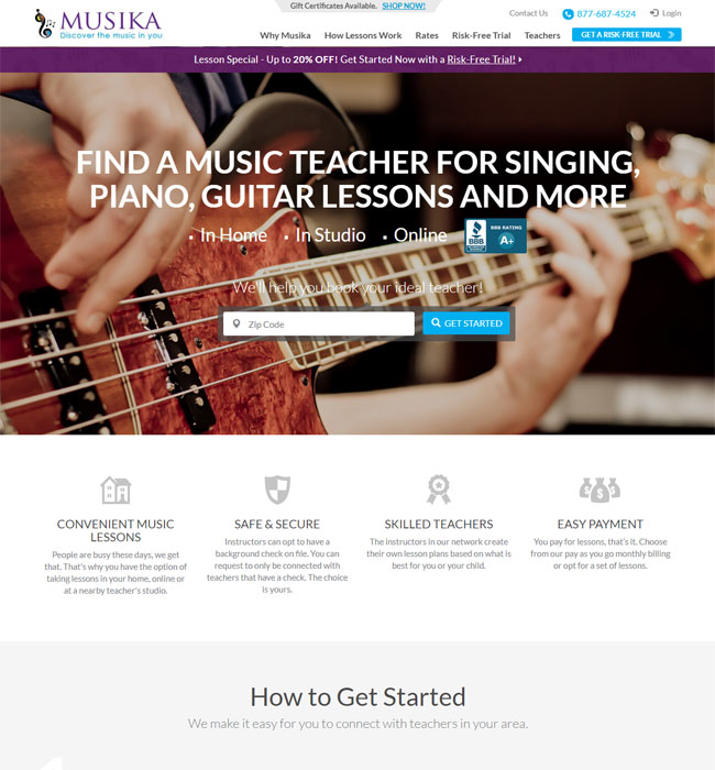 Website Design Enhancements for Music Education Industry - Musika