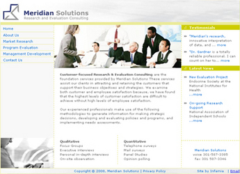 HTML Website for Research & Evaluation Consulting Firm 'MeridianSolutions'