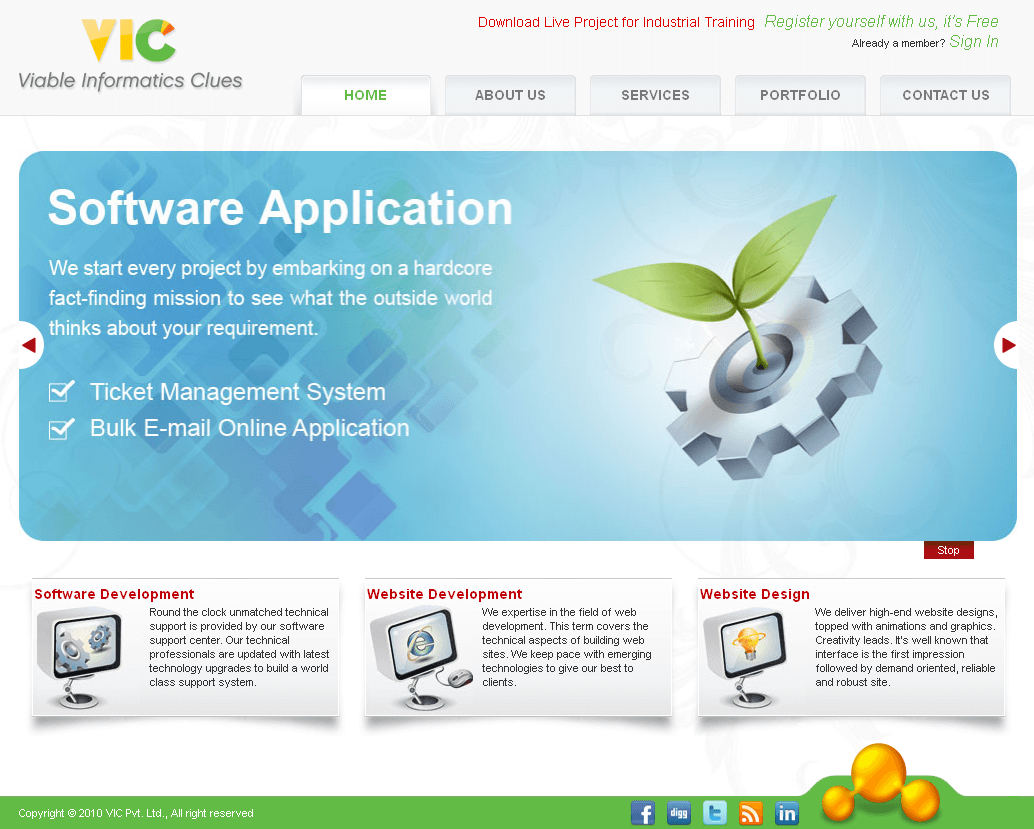 HTML Website for 'Viable Informatic Clues' IT Solutions Provider