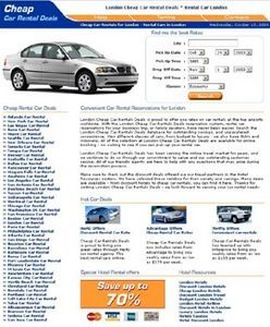 HTML Website for Travel 'Cheap Rental Car Deals' – Car Rental Services