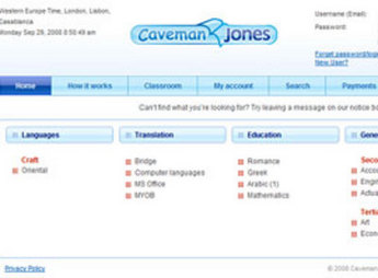 HTML Website for Education 'Caveman Jones' – Teacher & Student Platform