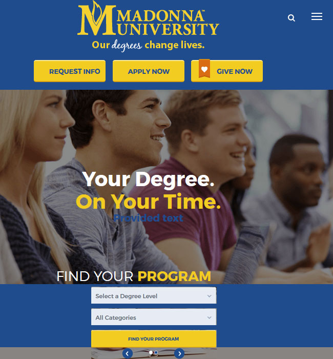 Website Development for Education Industry in the USA - Madonna University