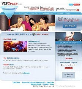 HTML Website for Entertainment 'VIPCrazy' – Club Event Services