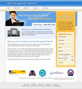 HTML Website for Credit Management Services Provider 'Debt Consolidation'