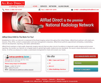 HTML Website for Healthcare 'AllRad Direct' – National Radiology Network