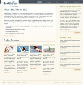 HTML Website for Healthcare Research and Development 'HealthSim'